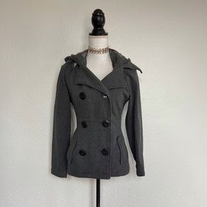 Solid Grey Hooded Peacoat